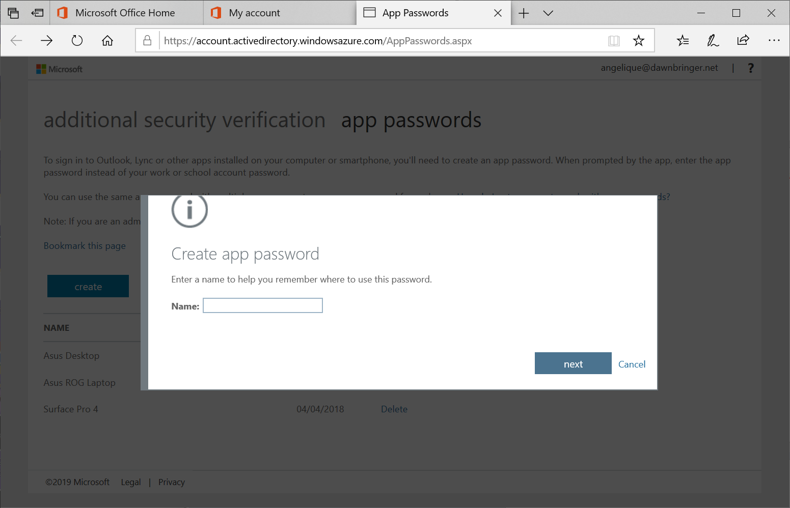 Office 365 Remove locally stored password credentials